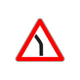 Red Dangerous turn sign Stock Photos