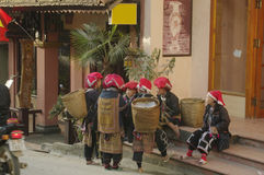 Red Dao women ethnic group of women in a street of Royalty Free Stock Photos
