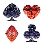 Red and dark blue diamond shaped card suits. Over white Royalty Free Stock Images
