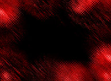 Red dark frame. An abstract red frame / border with a pattern of circles, lines, curves,  spots and different geometrical figures against black background Stock Photography
