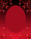 Red dark glass frame with butterflies and hearts Stock Image