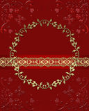 Red dark glass frame with butterflies and hearts lacy Stock Image