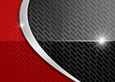 Red and Dark Metal Abstract Background. Red abstract background with metallic grid and metal curve Royalty Free Stock Photos