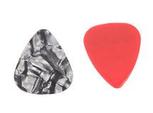 Red and dark plastic guitar plectrums Royalty Free Stock Photo