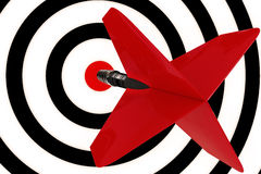 Red dart arrow. A red dart arrow hits the center target Stock Images