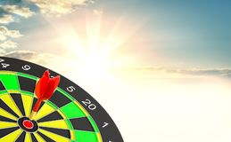 Red dart arrow hit target point center. And sunrise background. 3d illustration Stock Photo