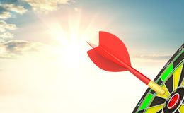 Red dart arrow hit target point center. And sunrise background. 3d illustration Stock Photography