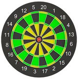 Red dart arrow put on the center of dartboard. Red dart arrow put on the target center of dartboard. 3d illustration Royalty Free Stock Image