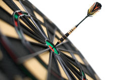 Red dart on bullseye Stock Images