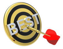 Red dart on a gold target with text on it. Stock Photos