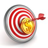 Red dart hit center of dartboard with golden coin Royalty Free Stock Photos