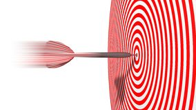Red dart. hit moment. Hit moment of powerful dart strike. hitting to center of target Stock Photography