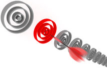 Red dart hit the target on white background. Stock Photography