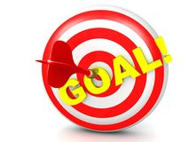Red dart hits goal on a target. An illustration of a red dart hitting the gold target goal on an archery target Royalty Free Stock Photos