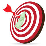 Red dart hitting money on target Royalty Free Stock Photos