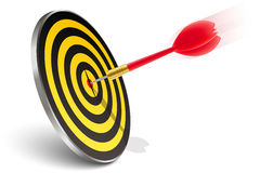 Red dart hitting the target Royalty Free Stock Image