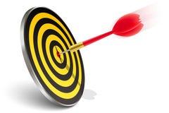 Red dart hitting the target. On white Royalty Free Stock Image