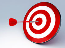 Red Dart Hitting The Target. Arrow in target 3D. success hitting. Business concept Stock Photography