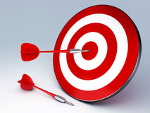 Red Dart Hitting The Target. Arrow in target 3D. success hitting. Business concept Stock Image