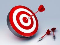 Red Dart Hitting The Target. Arrow in target 3D. success hitting. Business concept Stock Photos