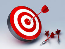 Red Dart Hitting The Target. Arrow in target 3D. success hitting. Business concept Royalty Free Stock Photo