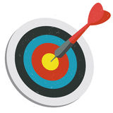 Red dart hitting target. Illustration of a red dart hit on target + vector eps file Stock Photography