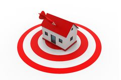 Red dart on house target. 3d illustration of Red dart on house target Stock Photography