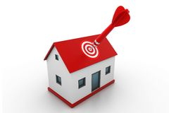 Red dart on house target Stock Photo