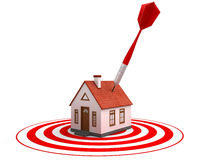 Red dart on house target Stock Images