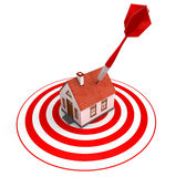 Red dart on house target Royalty Free Stock Images