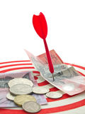 Red dart and money Stock Image