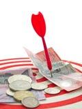 Red dart and money. Red dart hit the Australian money Stock Image