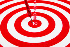 Red dart target. With red arrow Close up Royalty Free Stock Photography