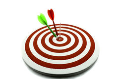 Red dart target. With red and green arrows Royalty Free Stock Photography