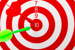 Red dart target. With red and green arrows  Close up Royalty Free Stock Photography