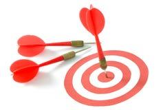 Red dart on target Stock Photo