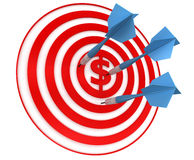 Red dart  target. Red dart target, white background, 3d render Stock Images