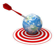 Red dart on world target. Red dart hit the center of world target, white background, 3d render Royalty Free Stock Photos