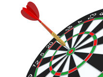 Red Darts arrow in bullseye. Royalty Free Stock Photos
