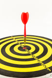 Red darts in bullseye of dartboard Royalty Free Stock Images