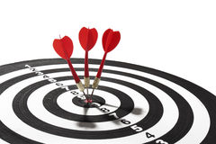 Red darts on target Royalty Free Stock Image