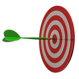 Red darts target aim and arrow 3d. Red darts target aim and arrow at the center - su3d Stock Image