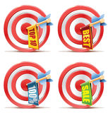Red darts target aim and arrow. Successful shoot. Ad banners on arrow Royalty Free Stock Images