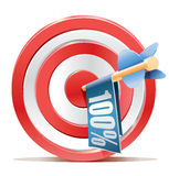 Red darts target aim and banner 100% Royalty Free Stock Photo
