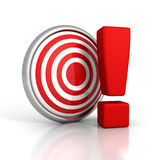 Red darts target with big exclamation mark Royalty Free Stock Images