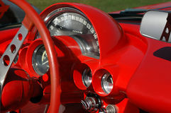 Red dash. And dials from vintage sports car stock photos