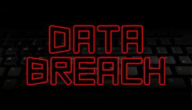 Data Breach red text over black keyboard illustration. Red Data Breach red text over black keyboard illustration Stock Photography
