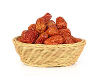 Red date in basket on white background Royalty Free Stock Photography