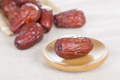 Red dates. Chinese red dates on the table, and closeup Royalty Free Stock Photos