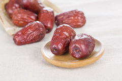 Red dates. Chinese red dates on the table, and closeup Royalty Free Stock Image